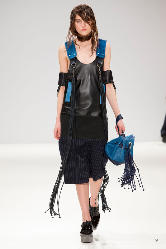 MAKE TO ORDER - JOE LEATHER DRESS WITH AQUA FUR - product image