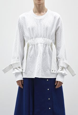 IN,STOCK,-,RICARDA,GATHER,JUMPER,Jamie Wei Huang, Ricarda Gather Jumper, White, Elastic, Rib, Jumper, Resort, RS17, Sweatshirt