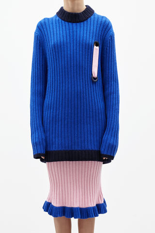 IN,STOCK,-,LIN,CASHMERE,JUMPER,AW16, LIN, CASHMERE, JUMPER, PENCIL SKIRT, Knitwear, Blue