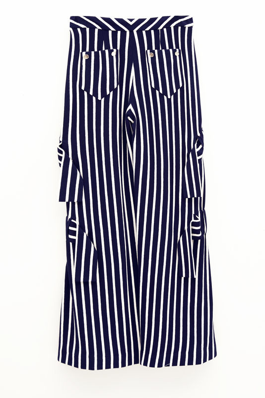 IN STOCK - RICARDA GATHER STRIPE TROUSER - product image