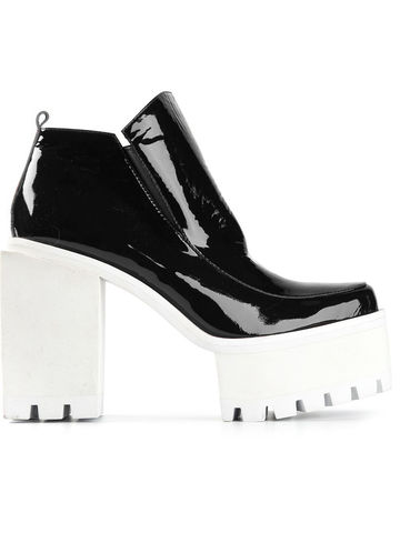 IN,STOCK,-,SQUARE,HIGH,HEEL,ANKLE,BOOT,Black Patent, High heel, High heeled ankle boot, Ankle boot, AW14, Jamie Wei Huang, Squared heel, White heel