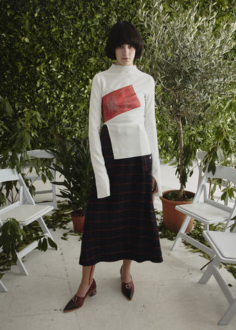 NEW,IN,STOCK,-,ALICE,WOOL,SKIRT,Jamie Wei Huang, AW17, Autumn Winter, Wool Check, Skirt, ALICE WOOL SKIRT, Navy, Red