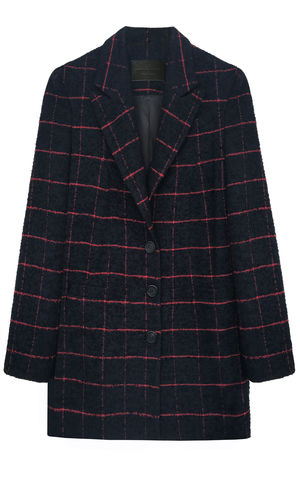 ALICE,JACKET,Jamie Wei Huang, AW17, Autumn Winter, Wool Check, Coat, ALICE JACKET, Navy, Red, JWH, FALL, 2018, 2017