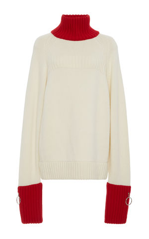 CASHMERE,TURTLE,NECK,JUMPER,Jamie Wei Huang, AW17, Autumn Winter, Turtle Neck, Jumper, CASHMERE TURTLE NECK JUMPER, White, Red, Cashmere, Knitwear, JWH, WINTER, AUTUMN, FALL, 2018, 2017