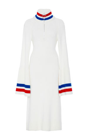 CASHMERE,BELL,SLEEVE,DRESS,Jamie Wei Huang, AW17, Autumn Winter, Bell Sleeve, Dress, CASHMERE BELL SLEEVE DRESS, White, Blue, Red, Cashmere, Knitwear, JWH, WINTER, AUTUMN, FALL, 2018, 2017