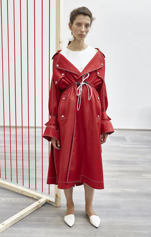 NEW,IN,STOCK,-,TANJA,COAT(NO,CUT,OUT),SS18, off-the-shoulder, red, loose, long, trench, coat, bow, sleeve