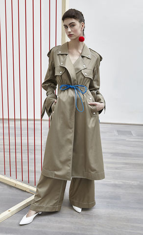 NEW,IN,STOCK,-,TANJA,COAT(BOW,SLEEVE),SS18, notched, lapel, loose, khaki, bow, sleeve, long, trench, coat