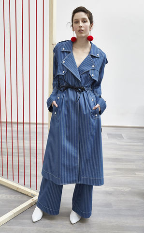 NEW,IN,STOCK,-,TANJA,COAT,(BELT,SLEEVE),SS18, blue, stripe, belt, sleeve, trench, coat