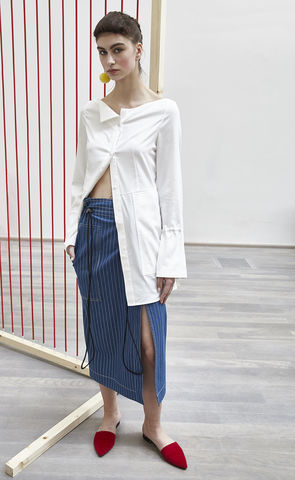 NEW,IN,STOCK,-,RUKA,SHIRT,SS18, off-the-shoulder, blouse, ruka, collar, asymmetric, white, shirt, bell cuffs