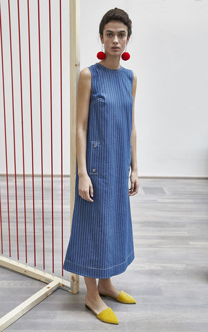 LILY,DRESS,lily, blue, stripe, denim, dress, JWH, SPRING, SUMMER, 2018, ss18, Jamie, Wei, Huang