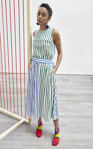 ALICE,CUT,OUT,VEST, green, blue, stripe, cut out, vest, JWH, SPRING, SUMMER, 2018, ss18, Jamie, Wei, Huang