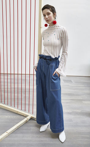 NEW,IN,STOCK,-,MATTHEW,GATHER,TROUSER,SS18, blue, stripe, denim, gather, low-waist, wide-leg, trouser