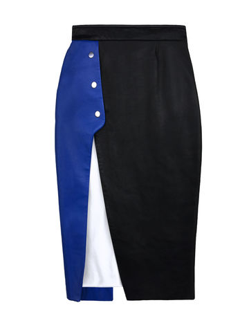 NEW,IN,STOCK,-,NATALIE,OVERLAPPED,LEATHER,SKIRT,Jamie Wei Huang, AW17, Autumn Winter, Black, Blue, Skirt, NATALIE OVERLAPPED LEATHER SKIRT, Nappa, Leather