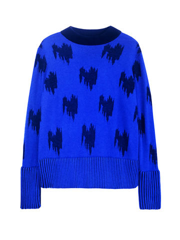 JACQUARD,CASHMERE,JUMPER,Jamie Wei Huang, AW17, Autumn Winter, Jumper, JACQUARD CASHMERE JUMPER, Blue, Black, 100% Cashmere, Knitwear, JWH, WINTER, AUTUMN, FALL, 2018, 2017