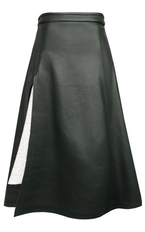 NEW,IN,STOCK,-,TANYA,LEATHER,SKIRT,Jamie Wei Huang, AW17, Autumn Winter, Bottle Green, Skirt, TANYA LEATHER SKIRT, Nappa, Leather