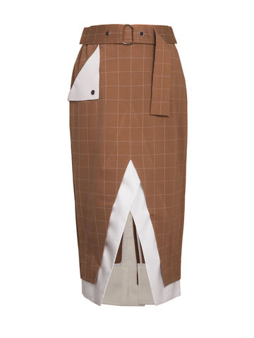 NEW,IN,STOCK,-,FAN,SKIRT,Jamie Wei Huang, AW17, Autumn Winter, Check, Skirt, FAN FAN SKIRT, Beige