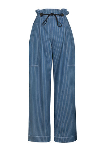 MATTHEW,GATHER,TROUSER,blue, stripe, denim, gather, low-waist, wide-leg, trouser, MATTHEW, JWH, SPRING, SUMMER, 2018, ss18, Jamie, Wei, Huang