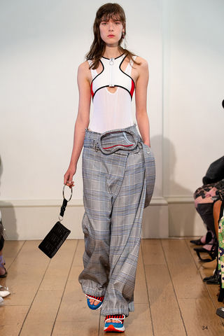 HELEN,TROUSERS, BLUE, CHECK, TROUSER, ASSYMETRY, LOOSE, SS19, SPRING, SUMMER, 2019