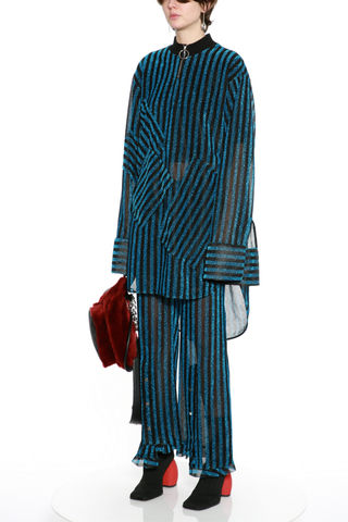 NICOLE,METALLIC,FLAIR,BLUE STRIPED, TROUSERS, NICOLE, METALLIC, FLAIR, JWH, WINTER, AUTUMN, FALL, 2019, 2020