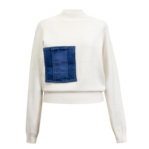 NICOLE,DENIM,POCKET,JUMPER, DENIM, POCKET, JUMPER, WHITE, Viscose, Knitwear, jumper, JWH, WINTER, AUTUMN, FALL, 2018, 2019