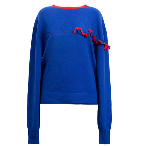 JUN,RUFFLE,JUMPER, CASHMERE, JUN, RUFFLE, JUMPER, JWH, WINTER, AUTUMN, FALL, 2018, 2019, BLUE, GREY