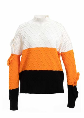 YUN,RUFFLE,CONTRAST,JUMPER, AW20, WHITE, ORANGE
