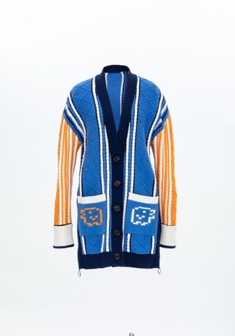 PRE,ORDER,-,TAMAGOTCHI,CARDIGAN,JUMPER, AW20, BLUE/ORANGE