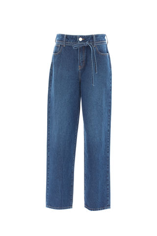 PRE,ORDER,-,GATHER,WAIST,LOSE,FIT,JEANS,TROUSER, AW20, LIGHT BLUE, JEANS, BLUE