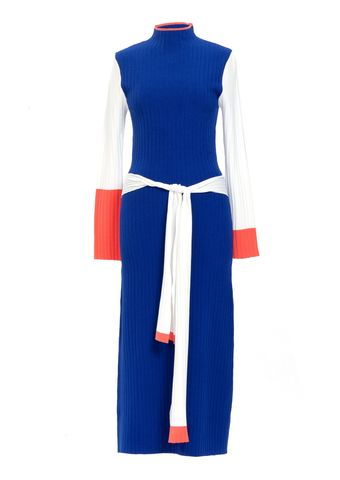 PRE,ORDER,-,LING,RIB,KNIT,DRESS, AW20, BLUE/ORANGE/WHITE
