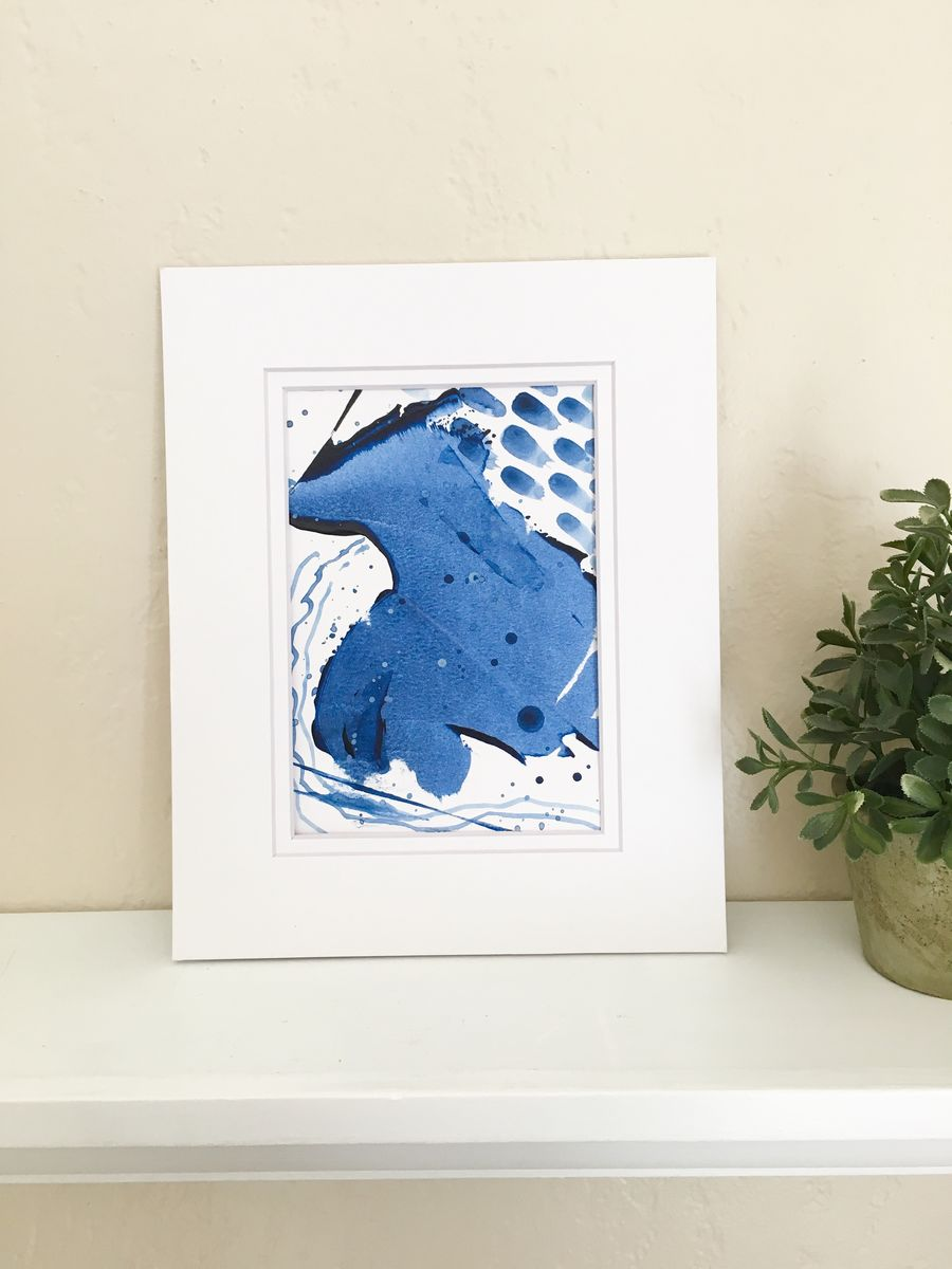 Upstream No. 1, Original Acrylic on Paper Abstract Painting with a ...