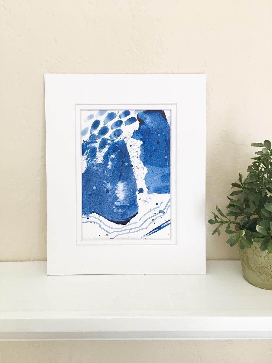 Upstream No. 2, Original Blue Acrylic on Paper Abstract Painting with a Double White Mat - product images  of