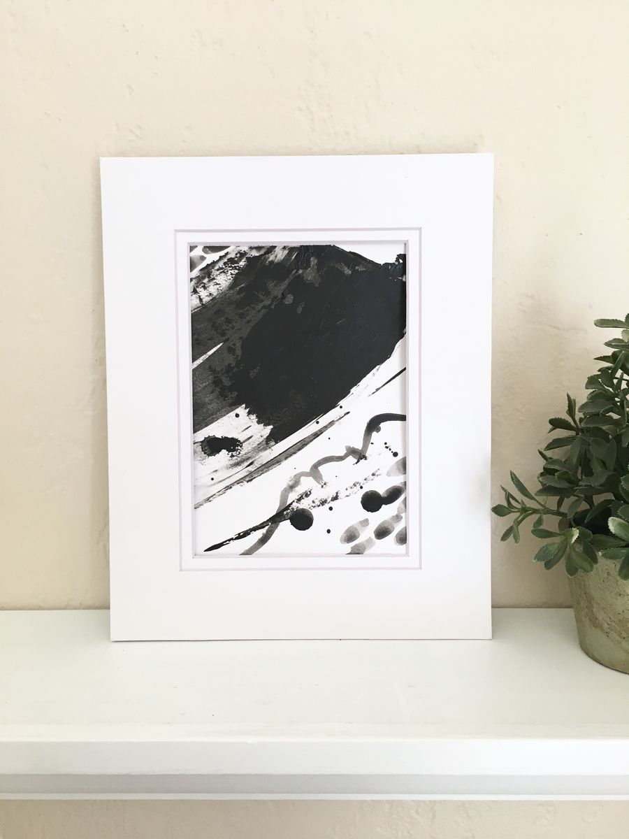 Upstream No. 4, Original Black and White Acrylic on Paper Abstract Painting with a Double White Mat - product images  of
