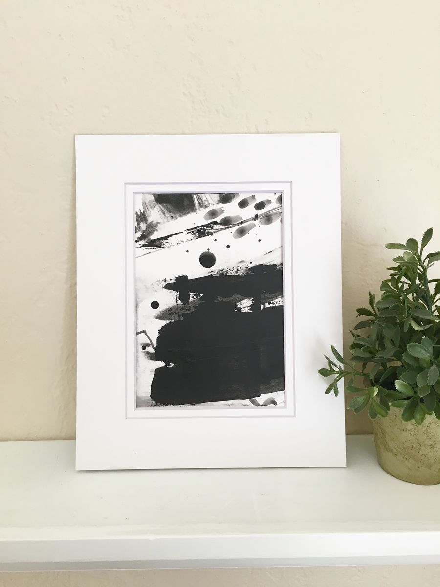 Upstream No. 6, Original Black and White Acrylic on Paper Abstract ...