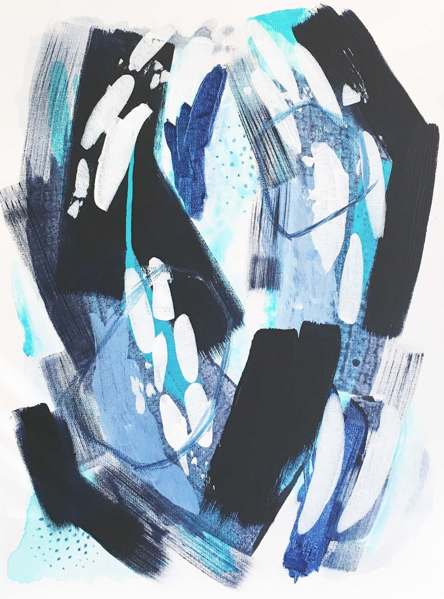 Blue Original Acrylic Art On Deep Gallery Wrapped Canvas Abstract Painting 18 X 24 Inches In The Same Circles By Heidi Heitz