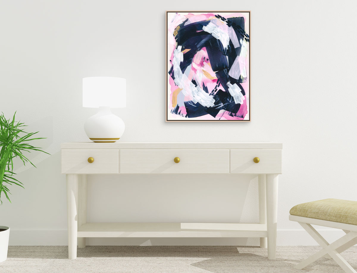 Brave New Path Art Print, Pink and Navy Blue Abstract Wall Poster, Feminine Art - product images  of