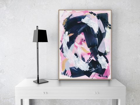 Original,Acrylic,Art,on,Deep,Gallery,Wrapped,Canvas,,Pink,and,Navy,Blue,Abstract,Painting,16,x,24,inches,A,Brave,New,Path,by,Heidi,Heitz,original art, canvas painting, pink and navy blue art, abstract art, abstract painting, feminine art, girl boss art,  blue art