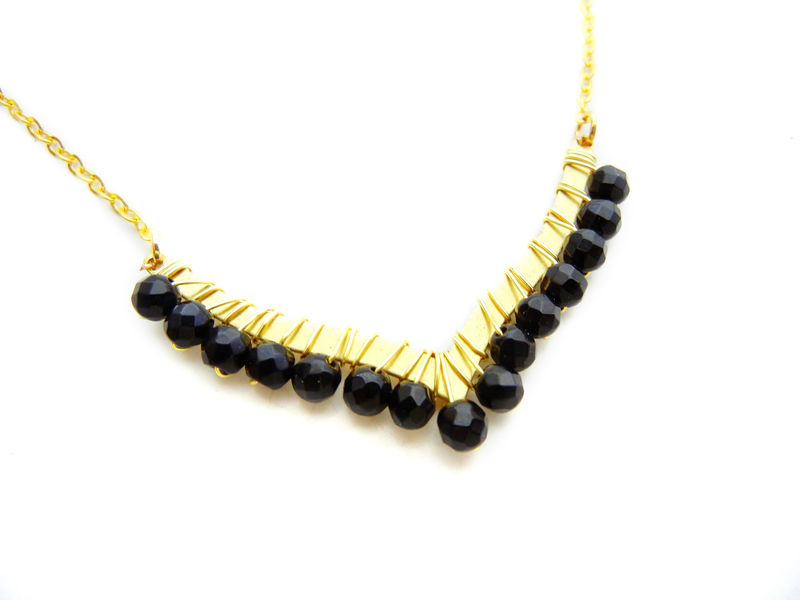 Black Onyx Gold V Necklace - product image