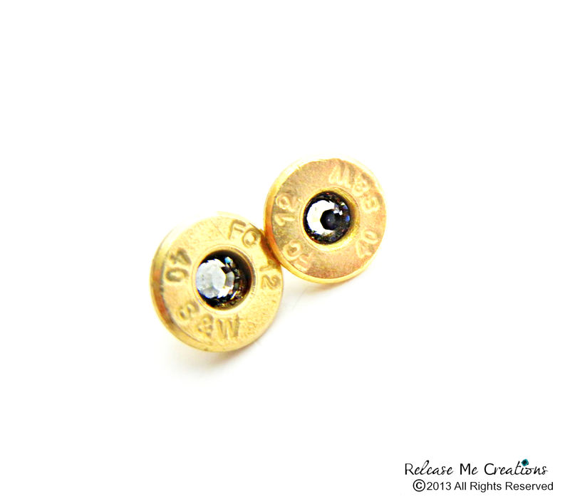 Swarovski Bullet Stud Earrings Smith and Wesson 14k Gold Filled Posts - product image