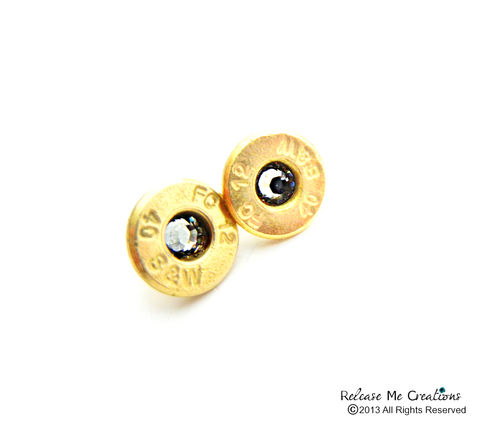 Swarovski,Bullet,Stud,Earrings,Smith,and,Wesson,14k,Gold,Filled,Posts,bullet, smith and wesson, stud earrings, gold, 14k gold studs, outdoor, military wives, nra, wedding, bridesmaid, bridal jewelry, outdoor wedding, military wedding, swarovski, birthstone