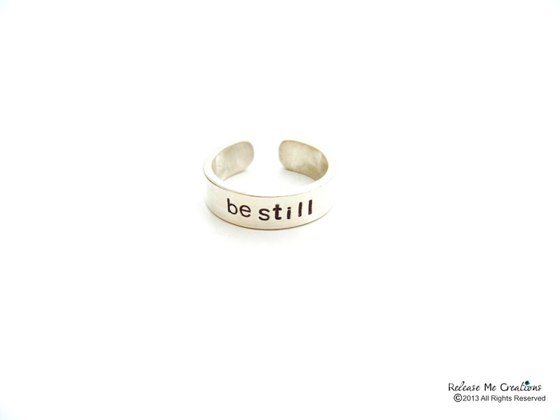 Sterling Silver Be Still Ring Hand Stamped - product image
