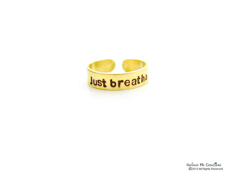 Just,Breathe,Gold,Brass,Ring,gold ring, stamped, meditation, yoga jewelry, for her, positive jewelry, mantra ring