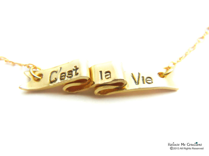 C'est la Vie Ribbon Scroll Necklace Parenthood Jewelry 14k Gold Filled Chain - product image