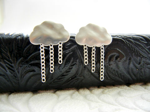 Rainy,Day,Sterling,Silver,Rain,Cloud,Earrings,earrings, cute, cloud, rain, for her, rain cloud, dangle, silver, rhodium