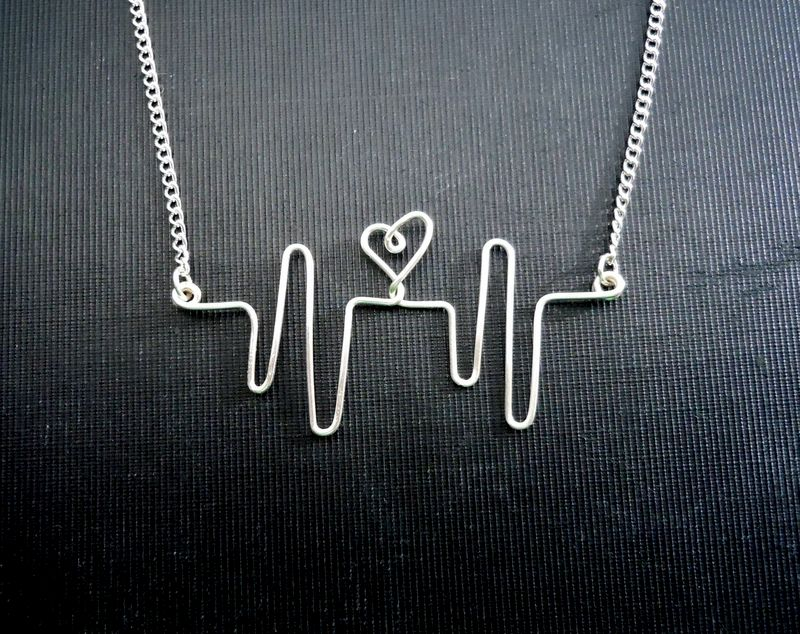 Sterling Silver Heartbeat Necklace - product image