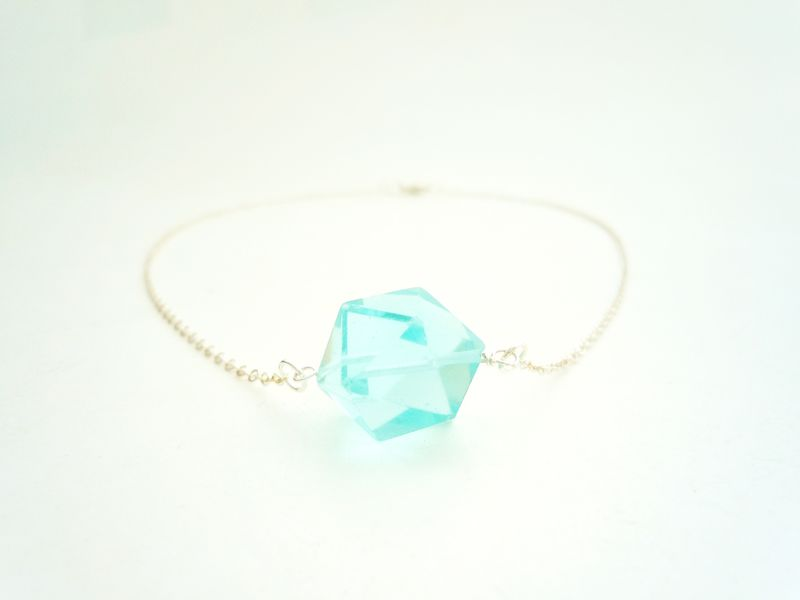 Aqua Quartz Dodecahedron Sterling Silver Necklace  - product image