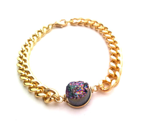 Rainbow,Druzy,Bracelet,bracelet, druzy, rainbow, italian cut, curb chain, for her, fashion, boho