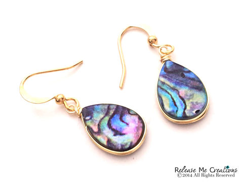 Blue,Abalone,Earrings,abalone, shell, beach, nautical, jewelry, earrings, for her, gift, dangle earrings