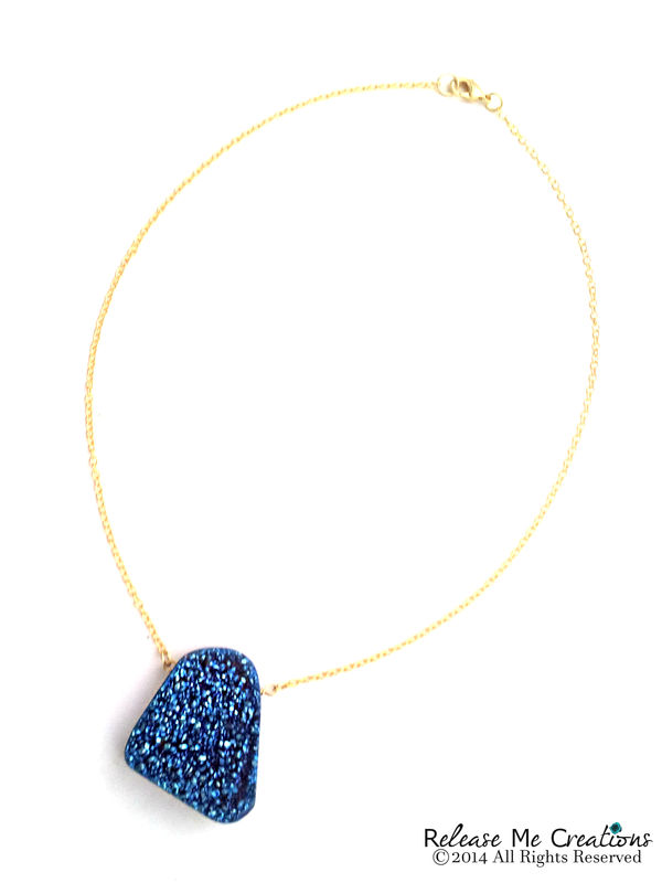 Dramatic Blue Druzy Necklace - product image