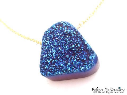 Dramatic,Blue,Druzy,Necklace,druzy, blue, gemstone, for her, necklace, boho, fashion