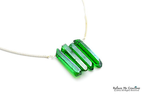 Emerald,Quartz,Wall,Necklace,emerald, green, quartz, point, quartz point, for her, necklace, boho, colorful, spring, summer